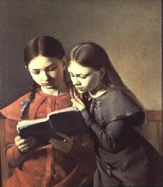 The Artist's Sisters Signe and Henriette Reading a Book Constantin Hansen Oil on canvas. Hansen often used his sisters and friends as models; People Reading, Girl Reading Book, Reading Art, Woman Reading, Kids Reading, I Love Books, Good Books, Books To Read For Women, Lectures