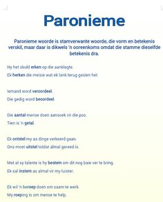 Paronieme Teaching Aids, Teaching Resources, Afrikaans Language, Afrikaanse Quotes, Abc For Kids, Teaching Techniques, Preschool Worksheets, Teacher Hacks, Thing 1