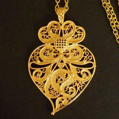 Portuguese Folk gold filigree Viana heart by HelenaAleixoGlamour