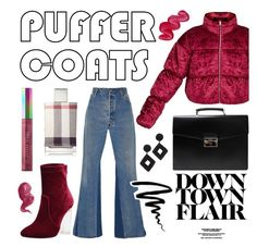 """""""Downtown Flair"""" by jasmineraco ❤ liked on Polyvore featuring RE/DONE, Prada, Kenneth Jay Lane, Bobbi Brown Cosmetics, Burberry, Puma, Australis and puffercoats"""