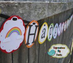 Rainbow and Sunshine Party Theme Birthday Banner