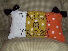"""""""Trick or Treat"""" Burlap Pillow"""