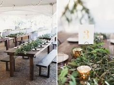 Natural garland table runners for wedding reception