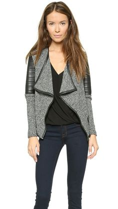 faux leather + marled knit jacket