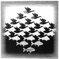 On Show at the Museum of the Tropics till November. M.C. Escher, Lucht en water I (1938) houtsnede © the M.C. Escher Company B.V