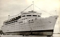 The launch of the Swedish American liner Stockholm (II), at Monfalcone, Italy, at 29 May 1938, The liner was destroyed by fire when fitting-out in 19 December 1938 and later scrapped.