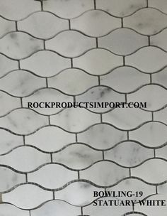 OUR NEWEST MATERIAL THAT JUST CAME IN STATUARY WHITE IN A BOWLING PATTERN. SEE MORE AT OUR WEBSITE ROCKPRODUCTSIMPORT.COM