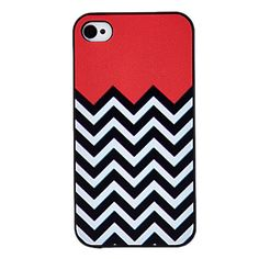 Black and White Waves Coloured Drawing Pattern Black Frame PC Hard Case for iPhone 4/4S – USD $ 2.79