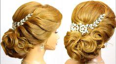 Elegant updo. Wedding hairstyles for medium long hair, tutorial
