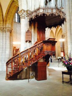 """This is the pulpit that Ulrich Zwingli preached the reformation message in Zurich. Absolutely incredible craftsmanship in the woodwork. This carpenter must have done this """"as unto the Lord"""" ! It is still used today in the Grossmünster Church in Zurich."""