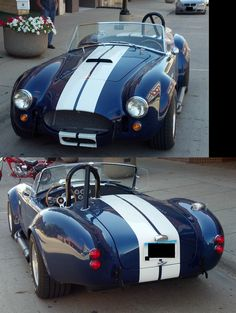 The AC Cobra, also known as the Shelby Cobra. I saw this guy pull up to a corner outside of my shop, and I had to run out and ask him to let me take a picture. He's actually in the background of the top picture, though plate and his face have been removed for privacy reasons. I presume it's a kit car, but I didn't think to ask. I was too busy drooling over what has been my favorite car of all time since I was a little boy. I don't think a sexier car has ever been made.
