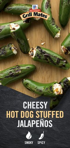 Ditch the bun -- this appetizer takes smoky, cheesy hot dog flavor and packs it into spicy jalapenos. Simply load each pepper with a mixture of creamy cheese and McCormick Grill Mates Montreal Steak Beef Franks and turn your next barbecue up a notch. Mexican Food Recipes, Keto Recipes, Cooking Recipes, Healthy Recipes, Appetizer Dips, Appetizer Recipes, Dinner Recipes, Zucchini Zoodles, Grilling Recipes