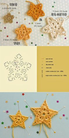 Studio Bees and Appletrees: sterretjes haken - crochet stars pattern Crochet Star Patterns, Crochet Snowflake Pattern, Crochet Stars, Christmas Crochet Patterns, Crochet Snowflakes, Crochet Flowers, Flower Patterns, Crochet Diy, Crochet Amigurumi