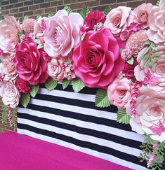 #paperflowers #floresdepapel #paperflorist #papercraft #quinceañera #paperflowersbackdrop #katespadebackdrop #pinkflowers #partydecoration #sweet16 #madewithmichaels #northcarolina