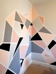 Home Decor and Design 25 DIY Tape Mural Wall Art paint ideas Wall Painting Decor, Mural Wall Art, Diy Wall Art, Painting Wall Designs, Painting Patterns On Walls, Paint Designs For Walls, Decorative Wall Paintings, Paint Wall Design, Painted Wall Murals