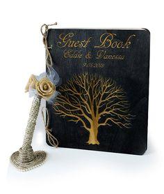 Rustic Wedding Guest Book & Pen Set  Wedding by TheSmilinBride