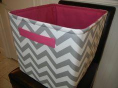 "EEx Large Toy Basket 13""x14""x13""(choose BASKET & LINING color)-Baby Gift-Fabric Organizer Storage Bin-Grey/White Zigzag-Chevron"