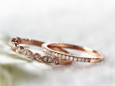 14K Rose Gold Ring Set Stacking Ring Stackable Band Diamond Wedding Band Birthstone Ring Diamond Jewelry Engagement Band Anniversary Ring