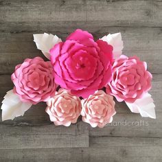 Pink flowers with white leaves  #paperflowers #paperflower #flower #flowers #backdrop #diy #crafts #bridalshower #babyshower #nursery #wedding #event #birthday #decor #decoration #handmade #etsy #ashandcrafts by ashandcrafts