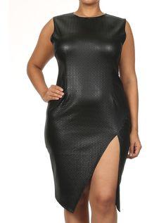 Plus Size Snake Pattern Cocktail Leather Dress