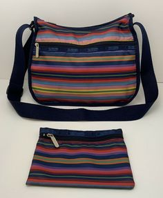 Vintage LeSportsac Crossbody Bag Retro Stripes Colorful Made In The USA Hobo Crossbody Bag, Striped Bags, Purses And Bags, Women's Bags, Vintage Coach, Everyday Bag, Brunei, St Kitts, Cambodia