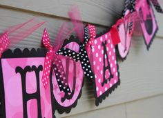 MInnie Mouse Happy Birthday Banner in Hot Pink. $32.00, via Etsy.