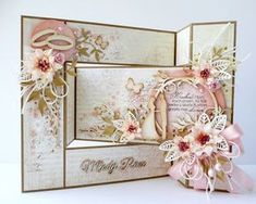 kartkulec, Wedding card with flowers in pastel colors, open Tri Fold Cards, Fancy Fold Cards, Folded Cards, Wedding Cards Handmade, Beautiful Handmade Cards, Greeting Cards Handmade, Paper Quilling Cards, Birthday Cards For Women, Step Cards