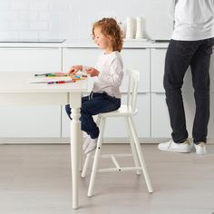 IKEA - INGOLF, Junior chair, white, Gives the right seat height for the child at the dining table. Living Room Chairs, Dining Chairs, Dining Table, Arm Chairs, Blue Chairs, Dining Room, Eames Chairs, Outdoor Dining, Accent Chairs