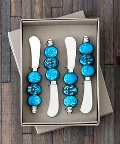 Take a look at this Turquoise Spreader - Set of Four by Shiraleah on #zulily today!
