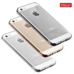 Тонкий прозрачный силиконовый чехол Msvii для Apple iPhone 5/5S/SE с заглушкой +стекло на armored.com.ua