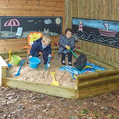 Jumbo Corner Sand Pit.  A large sandpit where children have the space to explore, build big structures and move freely. It fits snugly into a corner area, maximising space. There are ledges around the top to trundle vehicles, containers etc. or simply to rest upon.