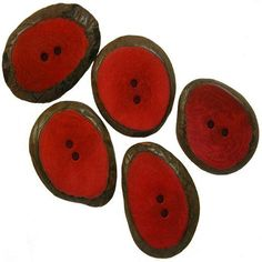 Set of 5 Small Fuchia Tagua Sliced Buttons from Ecuador Handmade Fair Trade