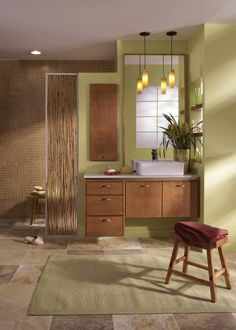 Make the most of enclosed spaces with innovative bathroom vanities from Merillat Cabinets' Fusion Cherry collection in Cider. Bathroom Storage Solutions, Small Bathroom Storage, Storage Spaces, Bath Cabinets, Bathroom Vanity Cabinets, Bathroom Vanities, Bathroom Furniture, Bathroom Interior, Bathroom Colors