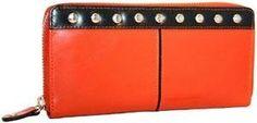Nino Bossi Crunch Leather Studded Zip Around Wallet Sunset NINO BOSSI. $70.31