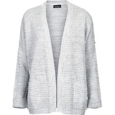 Boxy stitch knitted grey cardigan with pockets at hips. 100% Acrylic. Machine washable.