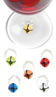 Happy Holidays! These jingle bell wine markers would be easy to make!