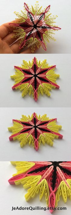 Quilled Snowflakes Paper Quilling Art Christmas Tree Decor Winter Hanging Ornaments Gifts Toppers Mandala Office Corporate Yellow Pink Black