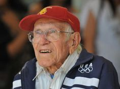 "Louis Zamperini ~ A former Olympic track runner, World War Two veteran and Los Angeles native who at 93 years old shares his story to this day.  He ran in the 1936 Olympics in Berlin, served in the airforce, survived for a month and a half on a life raft in the Pacific, and endured years of life in captivity as a Japanese prisoner of war.  Read the book ""Unbroken"" by Laura Hillenbrand which tells the story of his life.  Louie is a real American hero!"