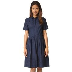 Chinti and Parker Broderie Schoolgirl Dress ($350) ❤ liked on Polyvore featuring dresses, navy, embroidery dresses, petite shirt dress, short-sleeve dresses, navy shirt dress and short sleeve dress