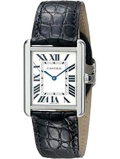 Cartier Men's W5200003 Tank Solo Stainless Steel Watch with Black Leather Band ❤ Cartier