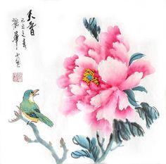 Chinese Peony Painting,34cm x 34cm,2485088-x