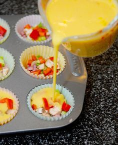 LOVE this Yummy and Simple way to make gluten free omelets for moms brunch in! Mini Omelet Muffins {Gluten Free} 12 eggs (beaten and seasoned with salt and pepper) diced ham bacon green onions red bell pepper mushrooms shredded cheddar cheese Free Breakfast, Breakfast Dishes, Breakfast Recipes, School Breakfast, Breakfast Ideas, Breakfast Casserole, Omelette Muffins, Gluten Free Muffins, Gluten Free Recipes