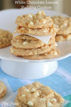 White Chocolate Lemon Pudding Cookies - these look amazing!