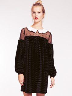 Eadie Velvet Smock Dress with Contrast Pleat Collar