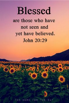 "Thomas answered and said to Him, ""My Lord and my God!"" Jesus said to him, ""Because you have seen Me, have you believed? Blessed are they who did not see, and yet believed.""John 20:28-29"