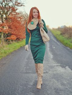 knee high tan boots with green dress Skirt Fashion, Fashion Boots, Fashion Dresses, 70s Fashion, 50s Style Skirts, Redhead Boots, Riding Boot Outfits, Cute Cardigans, Sweaters