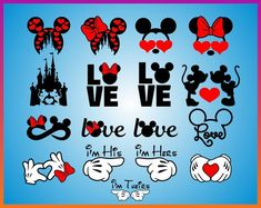Disney Valentines day svg Disney Love Svg Mickey Minnie Design cut file T-shirt Clipart Cricut Silhouette dxf png jpg Iron on decor gift - My WordPress Website Disney Diy, Disney Crafts, Disney Trips, Disney Love, Disney Mickey, Disney Valentines, Valentine T Shirts, Mini Y Mickey, T Shirt Clipart