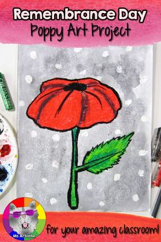 This Remembrance Day Poppy Art Project is a great way to experiment and create an artastic art piece for Remembrance Day. Students will use black watercolor paint and oil pastels to create this Remembrance Day art piece. Christmas Art Projects, Fall Art Projects, School Art Projects, Back To School Art, Remembrance Day Poppy, Elementary Art, Elementary Teacher, Upper Elementary, Art Rubric