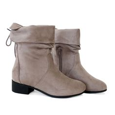"Style : Mid-Calf Boots Heel Height : 1 1/2"" Condition : New in Box Main Color : Grey Main Material : Man-made Material (Suede) Shaft Height : Approx. 7 1/2 in. Fit : Slightly Small to Size The Boots r"