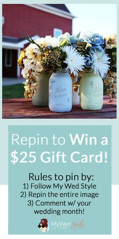 CONTEST TIME! Follow My Wed Style on Pinterest, Repin this entry image & Comment with your wedding month! A WINNER will be chosen on January 28th! Good Luck!